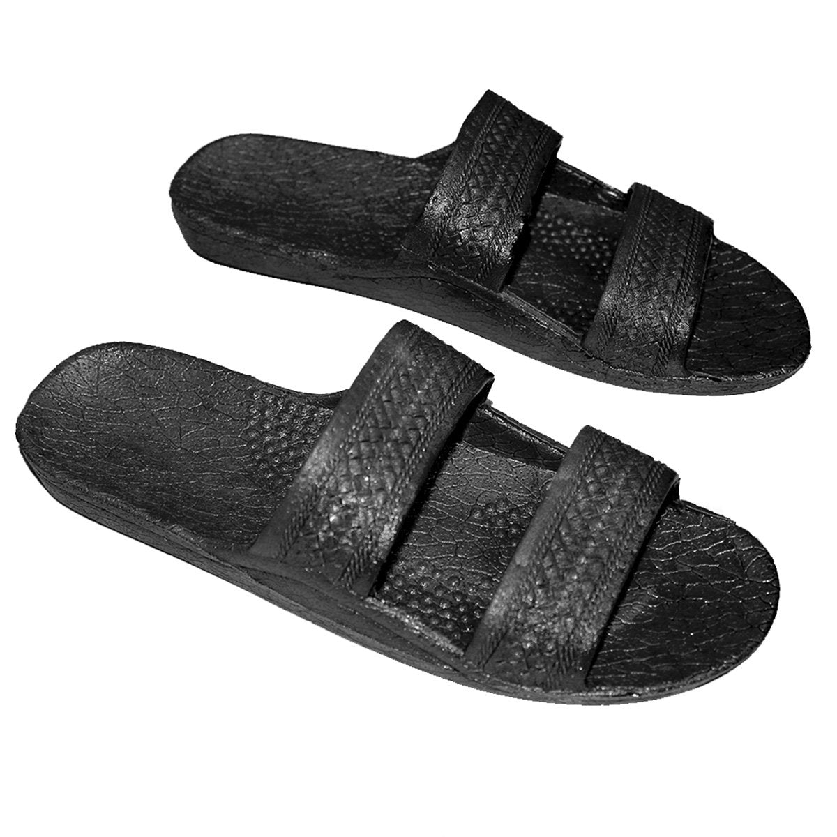 Hawaii Black Sandal | Open Toe Double Strap Hawaiian Slides - AlohaShoes.com