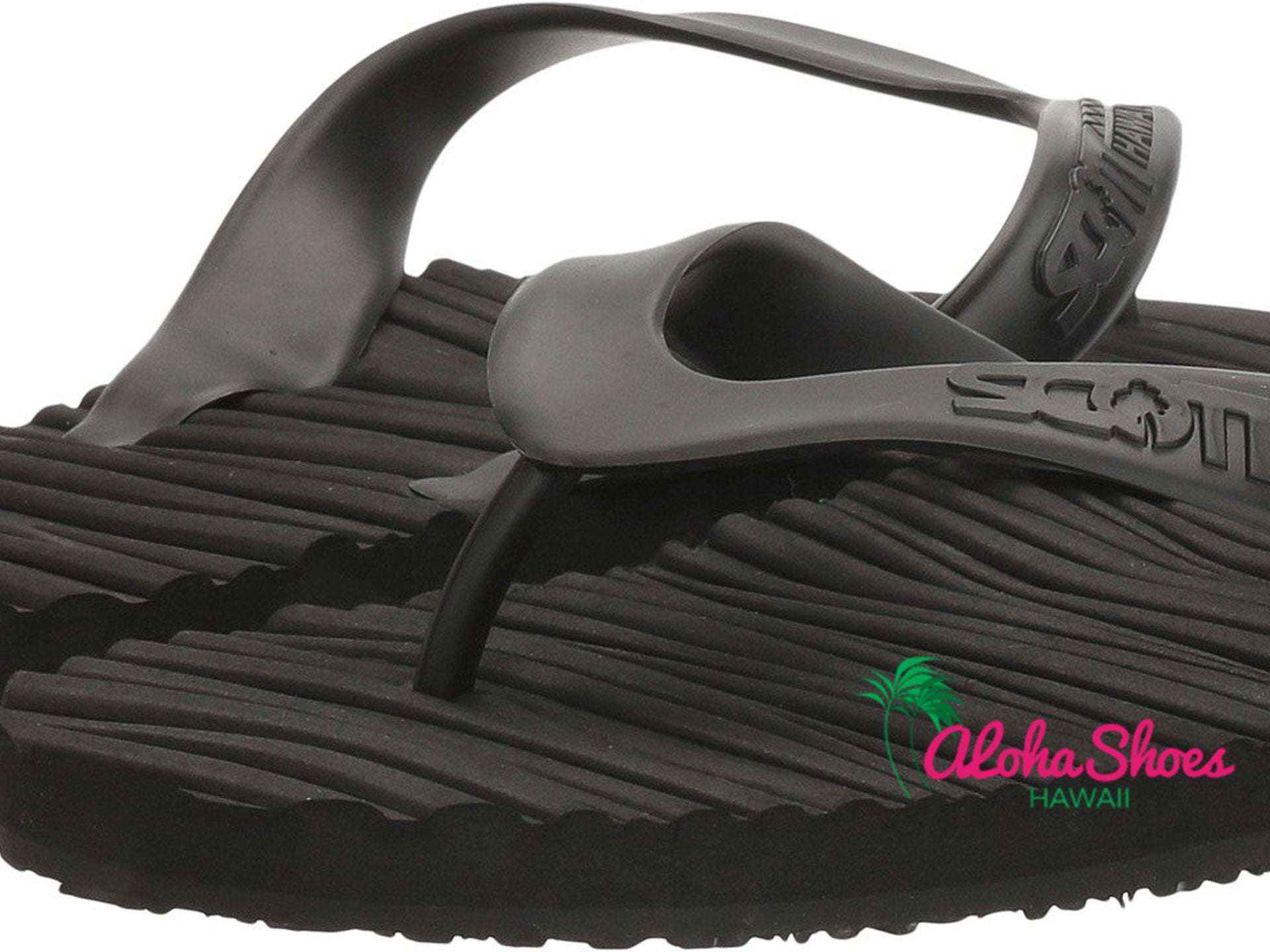 Scott Hawaii Pahoehoe Black Lava Design Rubber Slipper- AlohaShoes.com