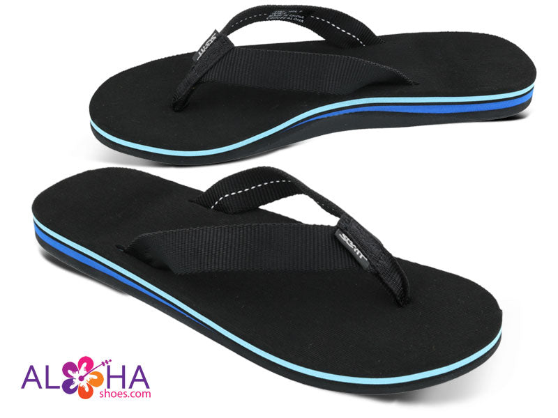 Womens Black Scott Holu Nylon Strap Slippers with Blue Accents at AlohaShoes.com