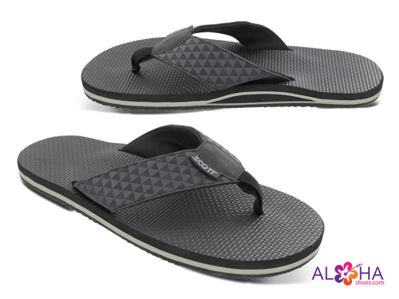 Mens Scott Koanui Black Sandals with Triangle Design on Strap - AlohaShoes.com