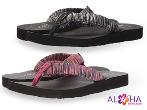 Scott Women's Kukini Yoga Mat Sandals with Foam-Filled Striped Straps from Aloha Shoes