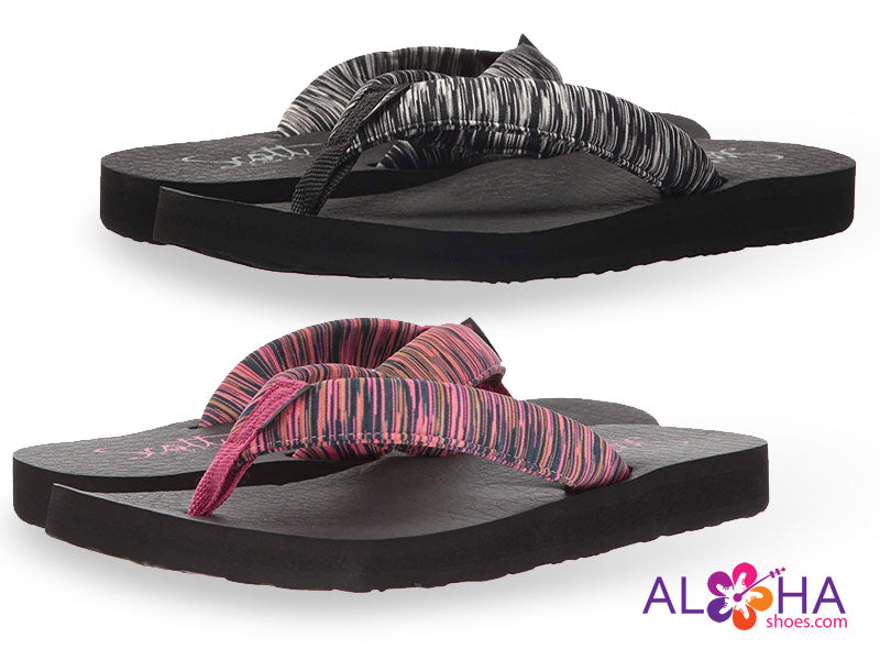 Scott Hawaii Women's Kukini Flip Flops with Striped Straps from Aloha Shoes
