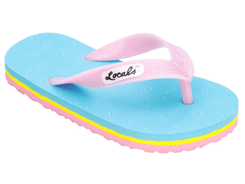 Kids Locals Candy Neon Blue, Yellow, and Pink Stripes - Alohashoes.com