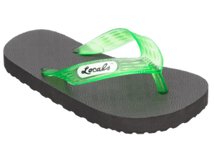 Kids Locals Rubber Slippers with Green Straps - Alohashoes.com