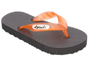 Kids Locals Rubber Slippers with Orange-Red Straps - Alohashoes.com