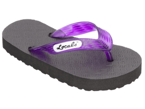 Kids Locals Rubber Slippers with Purple Straps - Alohashoes.com