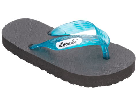 Kids Locals Rubber Slippers with Turquoise Straps - Alohashoes.com