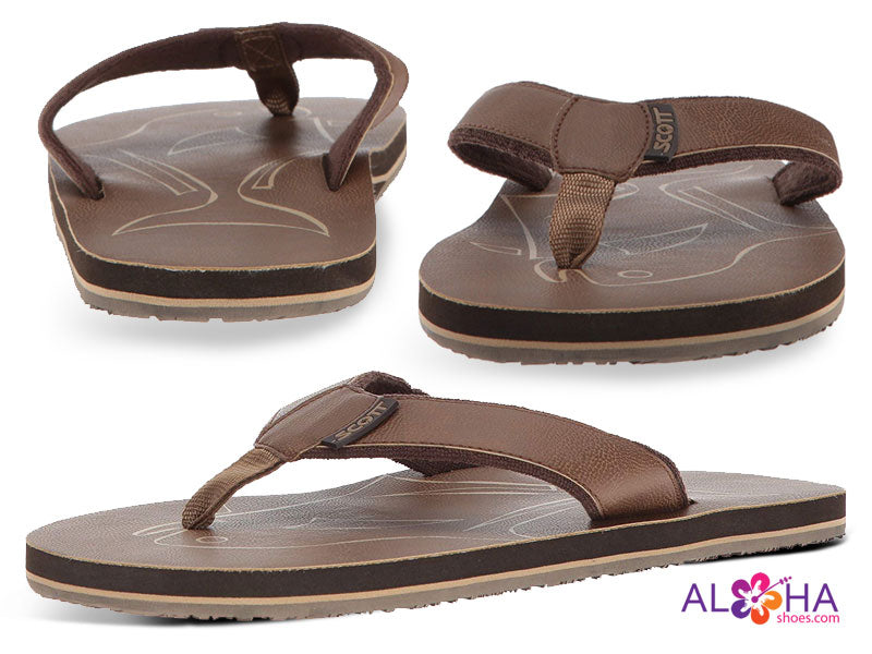 Mens Scott Papio Terrycloth Sandal with Brown Fish Design - AlohaShoes.com