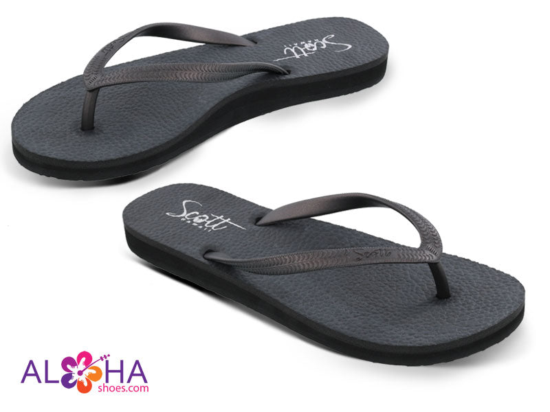 Scott Hawaii Moena Black Yoga Mat Flip Flop- AlohaShoes.com