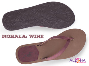 Women's Mohala Sandals with Wine Accents and Leather Straps - AlohaShoes.com