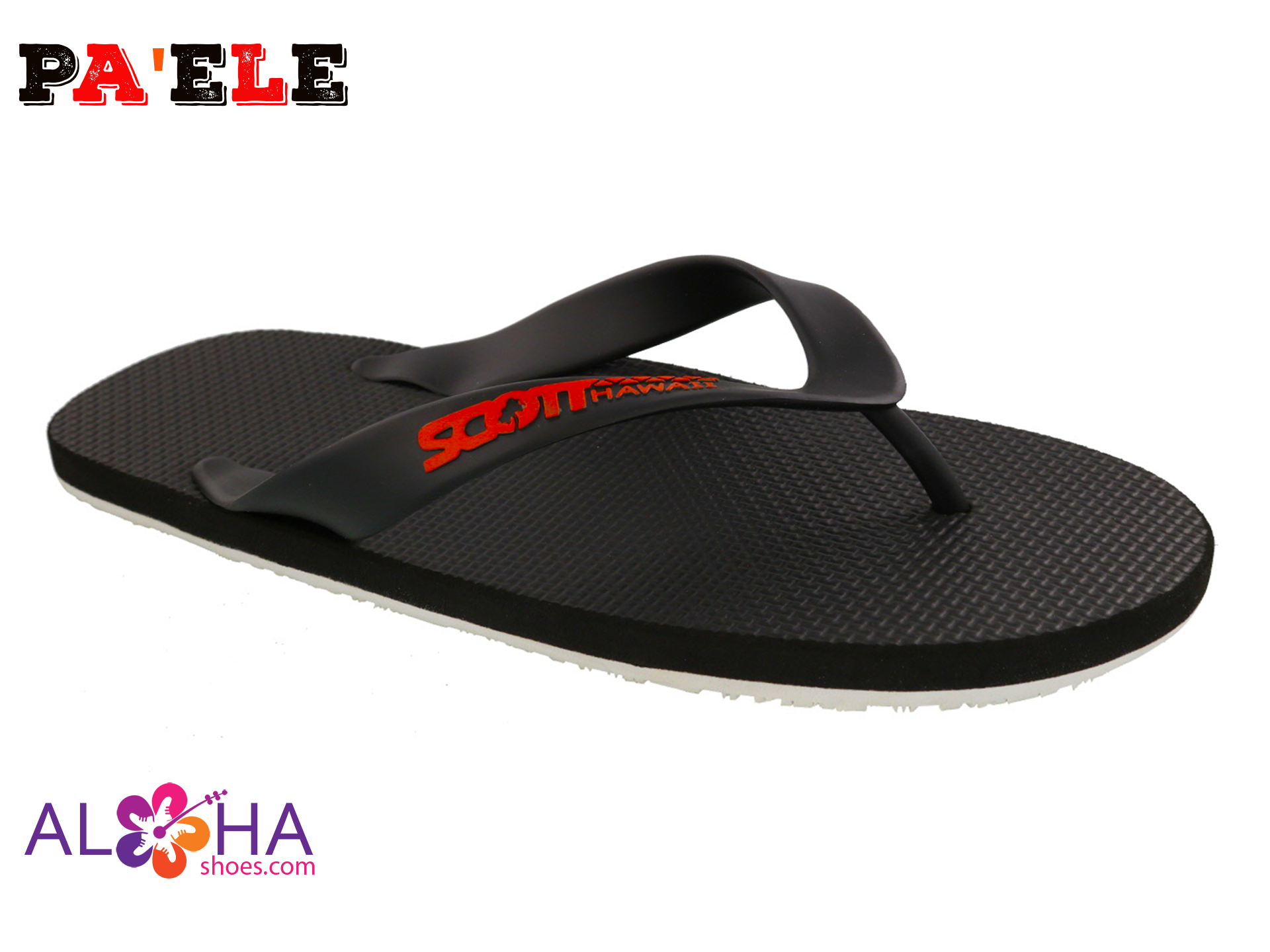Scott Paele Rubber Flip Flops | Two Toned White Bottom Sandals - AlohaShoes.com