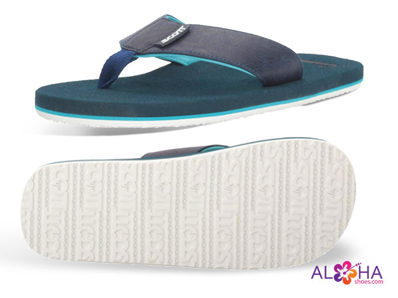 Navy Blue Mens Scott Punini Slippers with Chill Blue Accents and White Non-marking Rubber Outsole - AlohaShoes.com