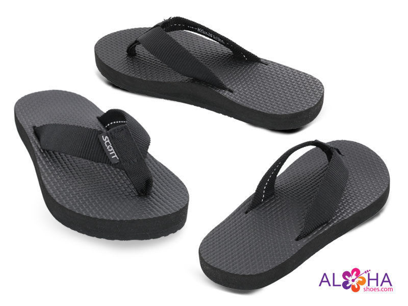 Scott Hawaii Boy's Nui Slippers | Black Flip-Flops - AlohaShoes.com