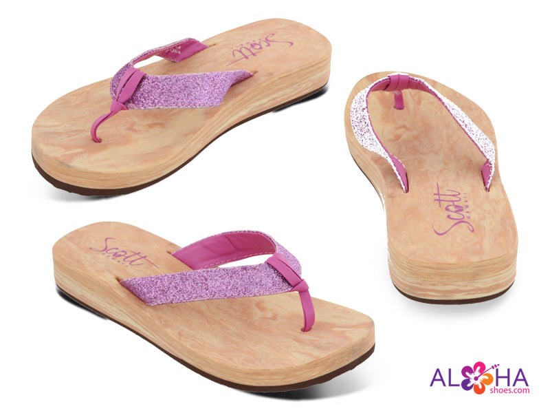 Scott Hawaii Lino Wedge with Glitter Slippers - AlohaShoes.com