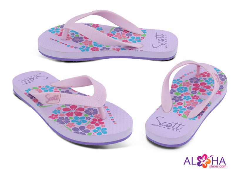 Girl Pink Rubber Flip Flops with Flower Design at AlohaShoes.com