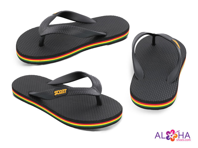Scott Hawaii's Boy's Manini Rubber Slippers with Black Rasta Trim - AlohaShoes.com