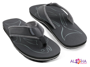 Mens Scott Papio Grey Terrycloth Sandal with Fish Design - AlohaShoes.com