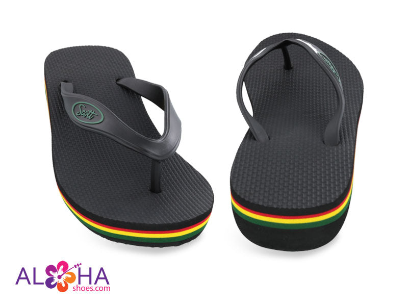 Scott Olu Wedge Sandal | Black Beach Reggae Stripes - AlohaShoes.com