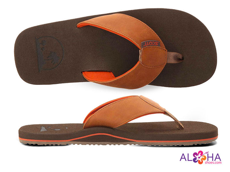 Chocolate Mens Scott Punini Slippers with Fiery Orange Accents - AlohaShoes.com