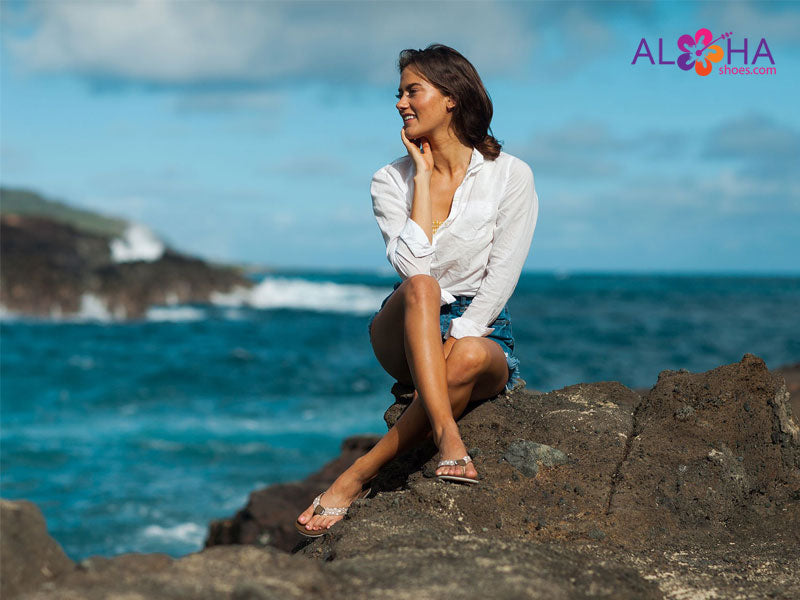 Scott Womens Brown Hanalei Sandal with White Polkadots on the Water - AlohaShoes.com