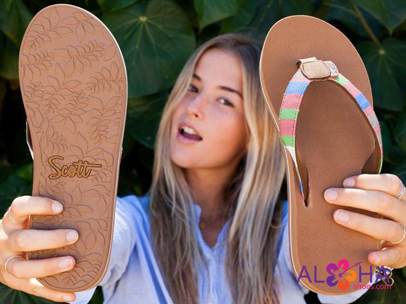 Cushion EVA insole on Scott Women Anuenue Rainbow Strap Sandals- AlohaShoes.com
