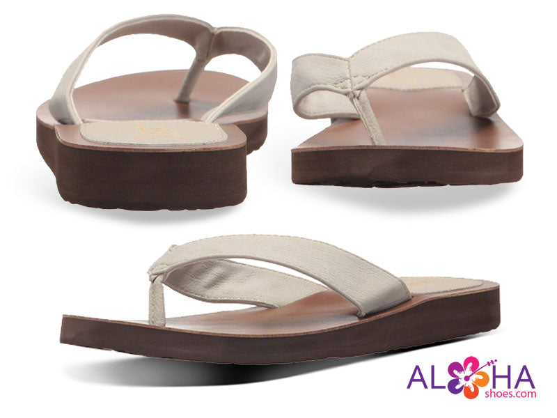 Scott Women's Leather Sandals Hauoli with Bone Colored Straps- AlohaShoes.com