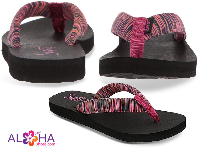 Scott Women's Kukini Yoga Mat Sandals with Pink Striped Strap from Aloha Shoes