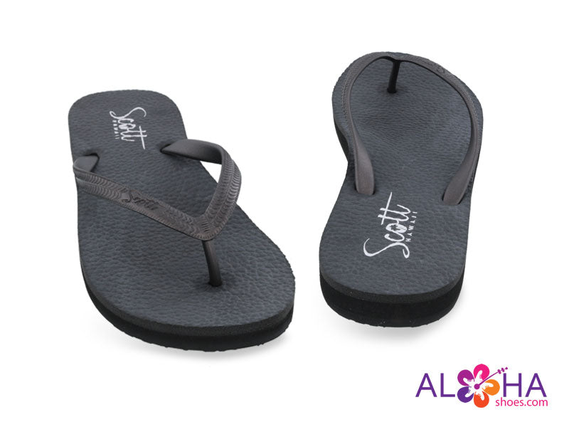 Scott Women's Moena Black Rubber Flip Flop- AlohaShoes.com