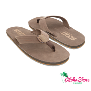 Chocolate Colored Scott Hawaii Men's Leather Kakina Slipper - Alohashoes.com
