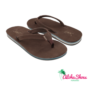 Women's Chocolate Leather Scott Hawaii's Nokea Sandals- AlohaShoes.com