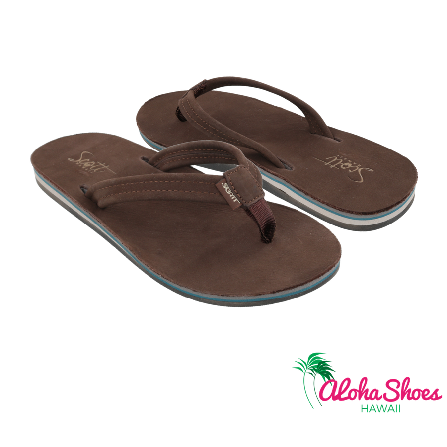 Scott Women's Leather Nokea Beach Sandals | Lightweight Flip-Flops Arch Support - AlohaShoes.com