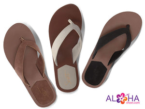 Women's Leather Hauoli Sandal with Brown, Bone, and Black Straps from AlohaShoes.com