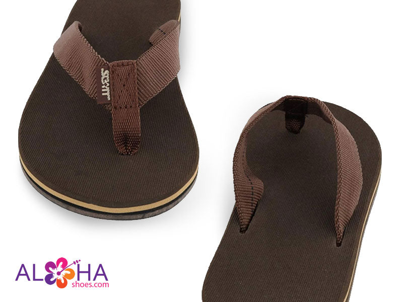 Womens Scott Holu Nylon Strap Slippers - Brown with Tan Accents at AlohaShoes.com