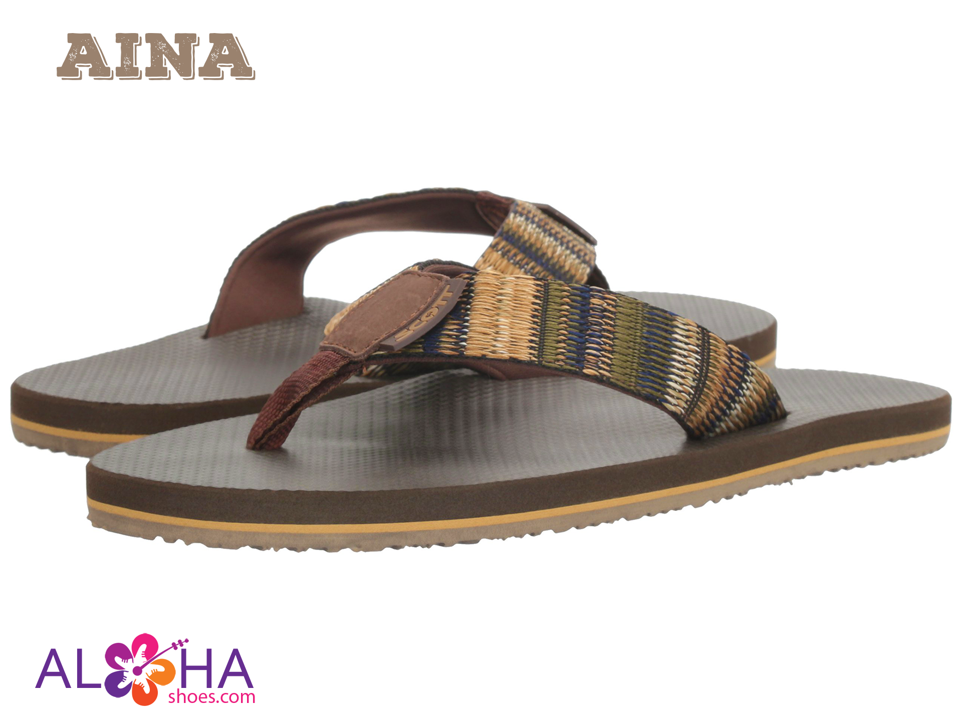 Men's Aina Rubber Slippers With Woven Strap - AlohaShoes.com