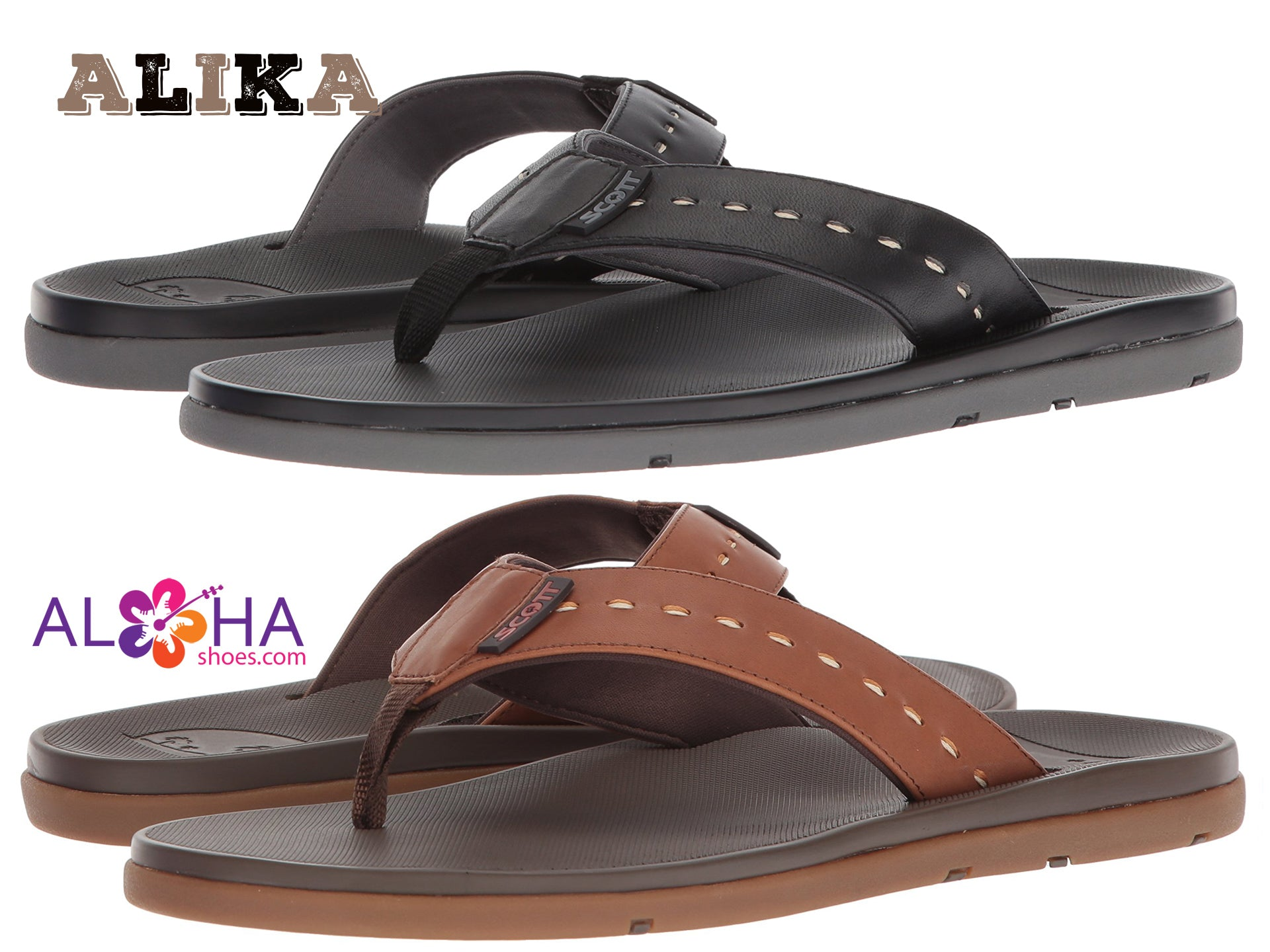 Scott's Sophisticated Alika Black Leather Sandal | Neoprene Strap - AlohaShoes.com