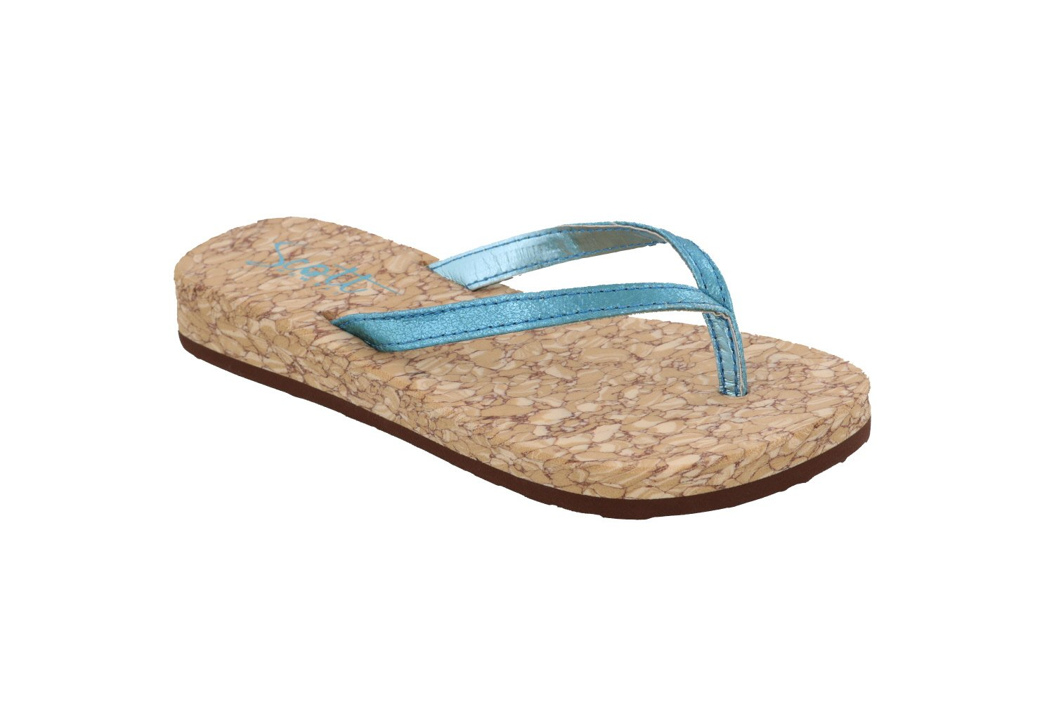 Girls Alohi Wedge Sandals | Gold & Blue | Metallic Straps - AlohaShoes.com