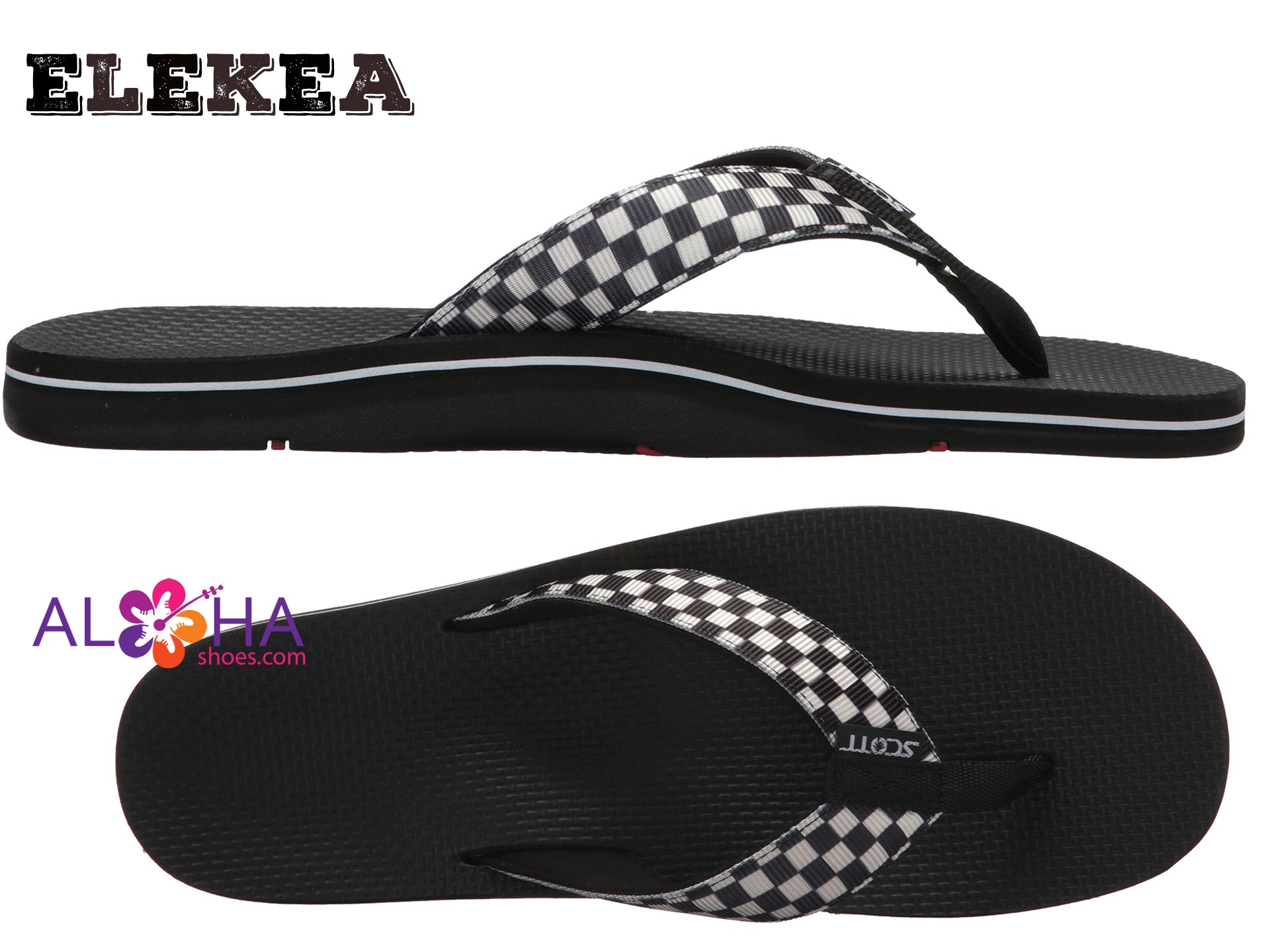 Men's Checkerboard Sandals |  Ele'ke Neoprene Lined Flip Flops - AlohaShoes.com