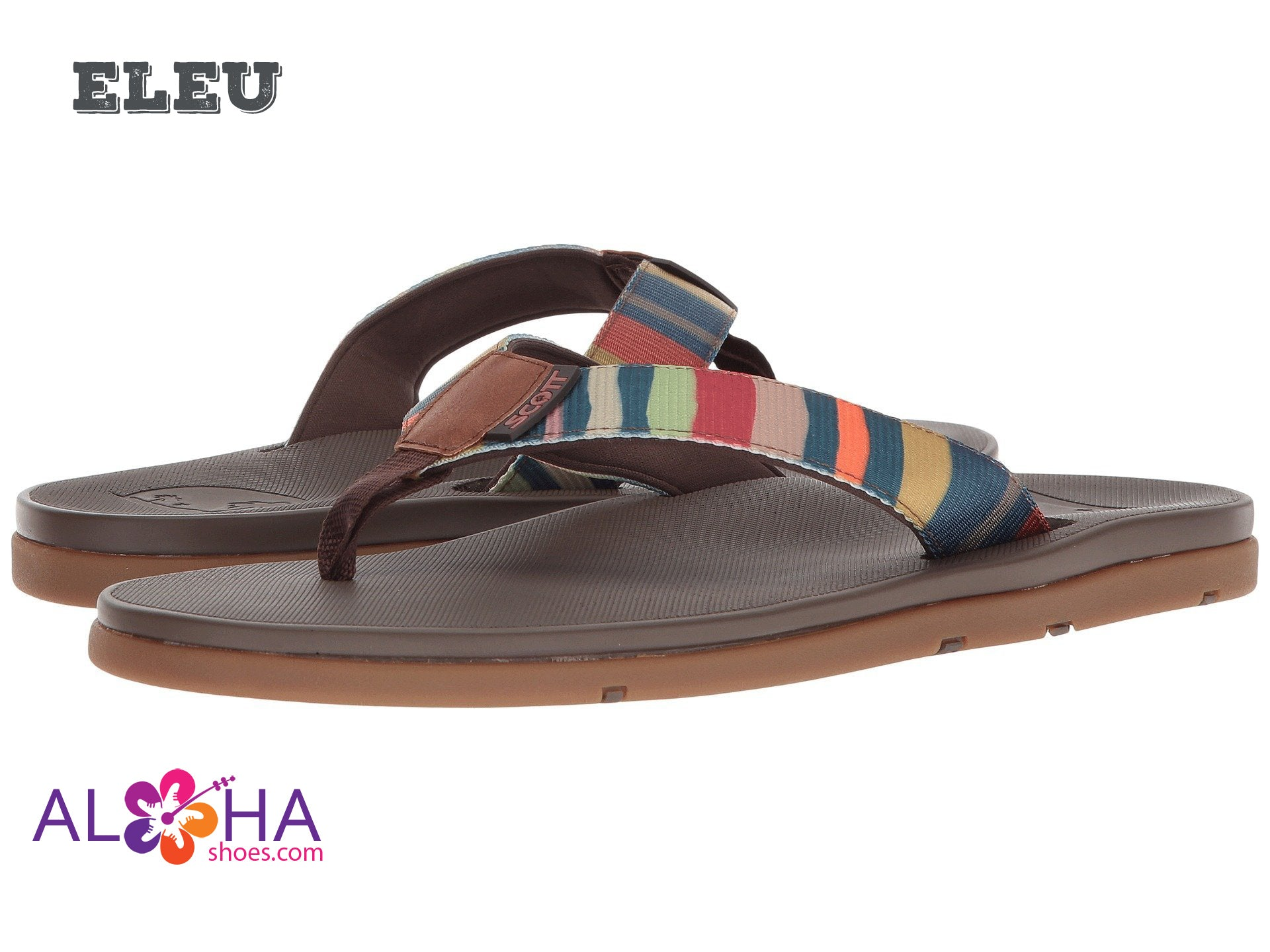 Men's Scott Hawaii Eleu Rainbow Strap Flip Flops - AlohaShoes.com