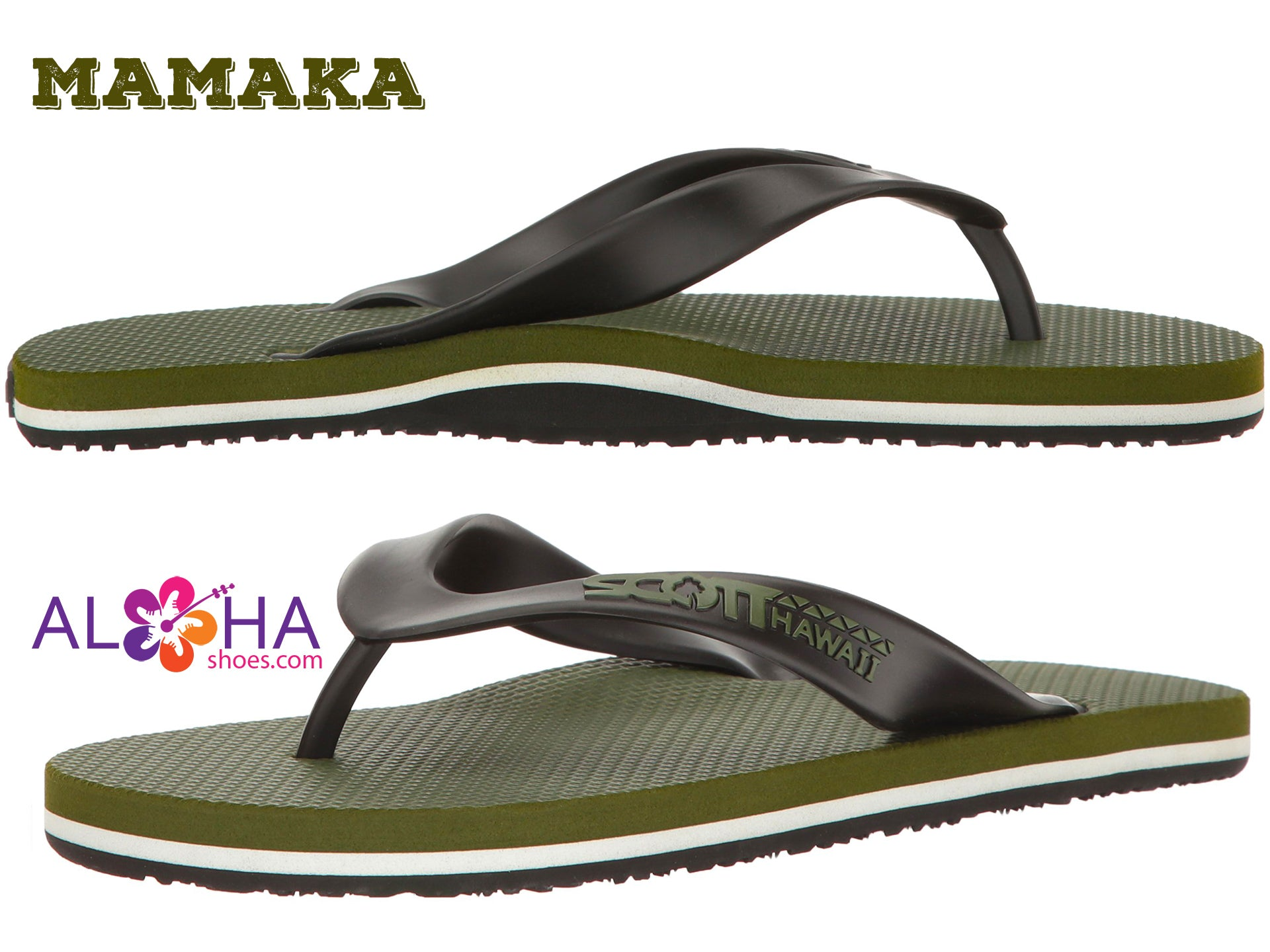 Scott Rubber Slippers Mamaka | Size 10 Green Flip-Flops - AlohaShoes.com
