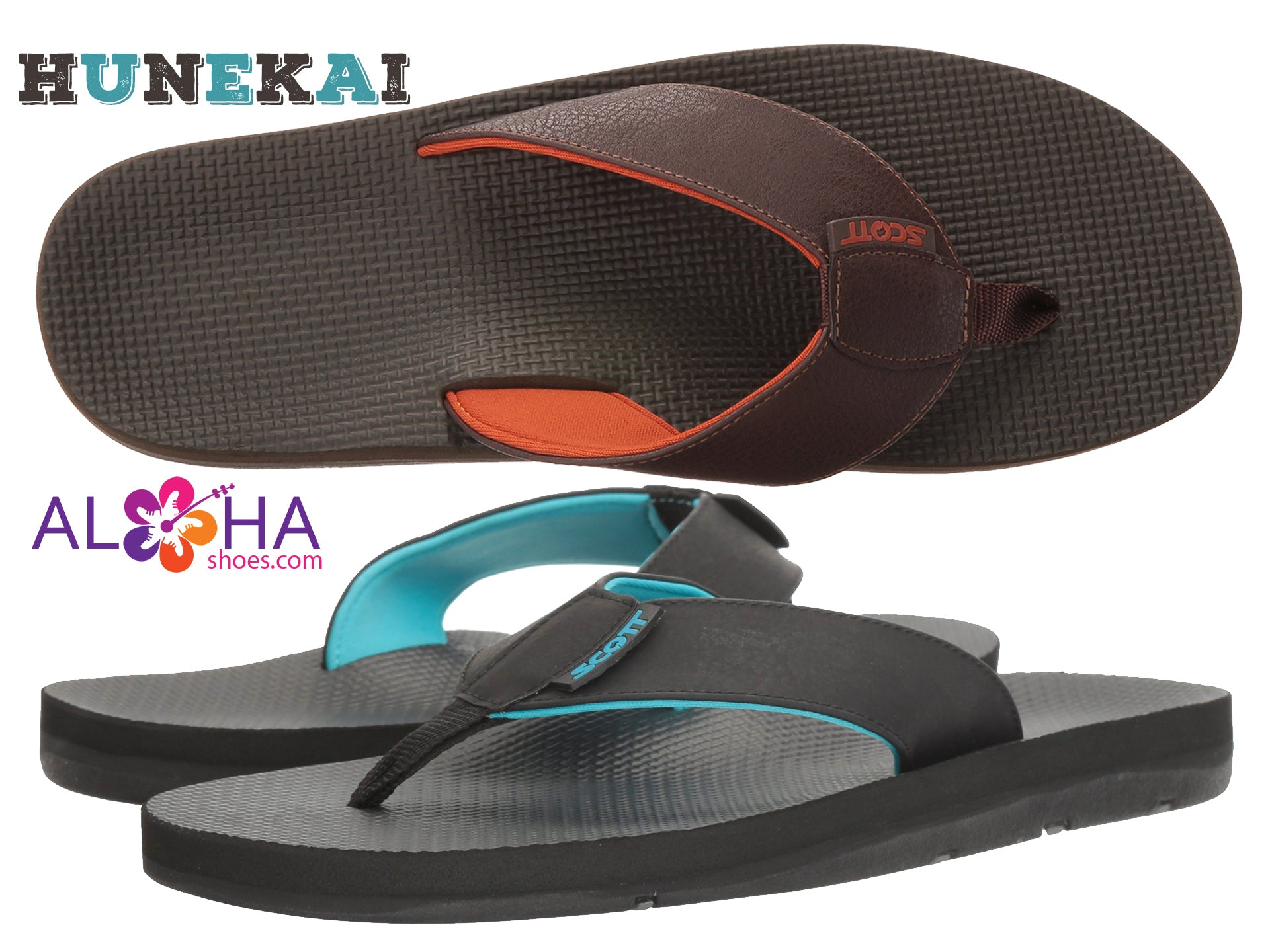Scott Hawaii Men's Hunekai Leather Sandals Dual Density- AlohaShoes.com