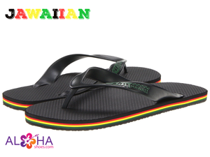 Scott Hawaii Men's Jawaiian Rubber Slipper Rasta Black