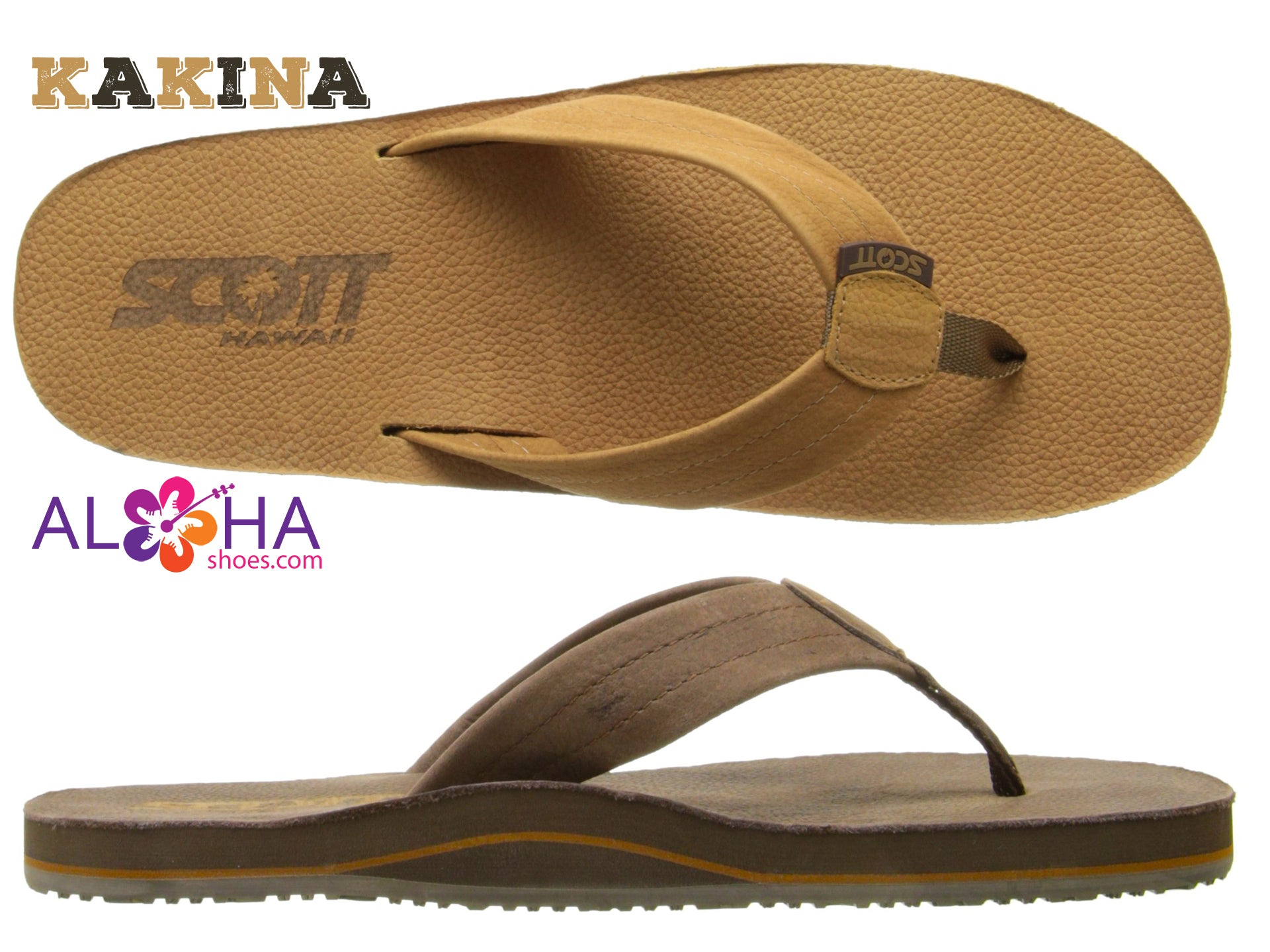 Scott Kakina Premier Leather Vintage Sandals |  Layered Arched Support - AlohaShoes.com