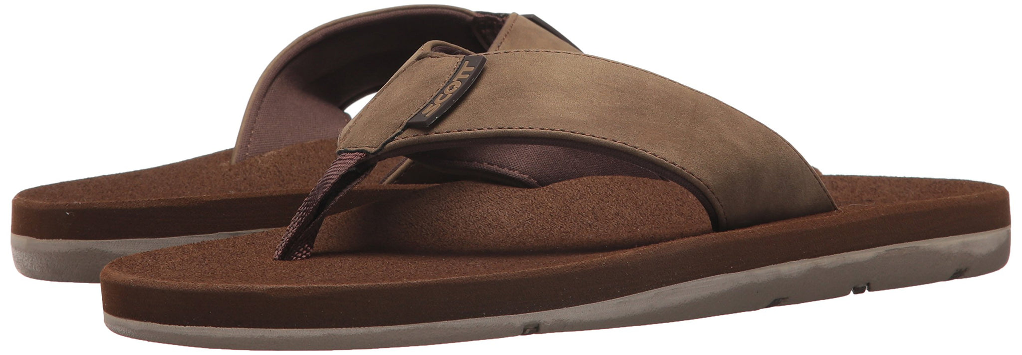 Scott Men's Kapena Vegan Chestnut Brown Sandals Neoprene Lined - AlohaShoes.com