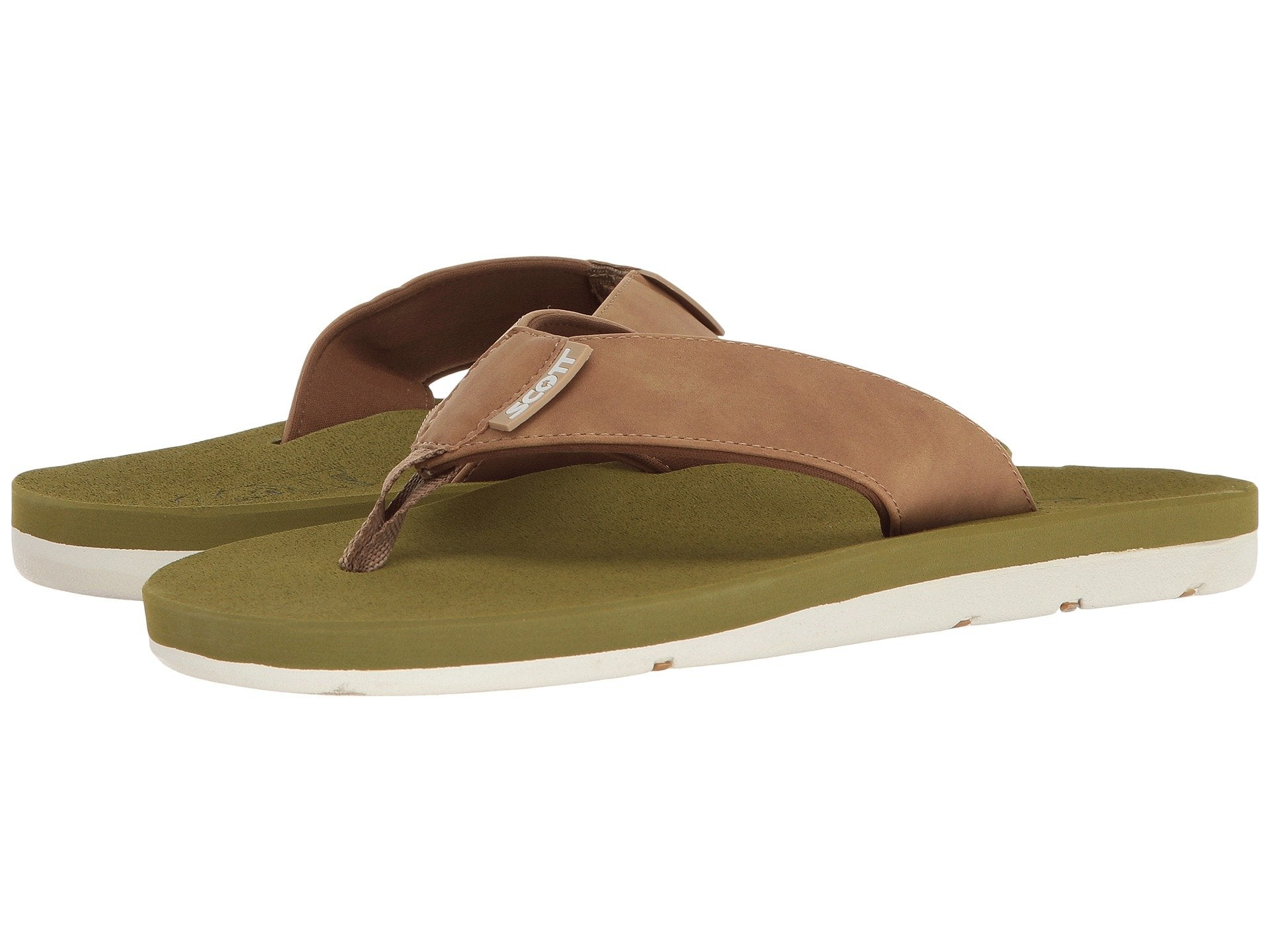 Scott Hawaii Kapena Vegan Sandals | Green Tan Neoprene Lined - AlohaShoes.com