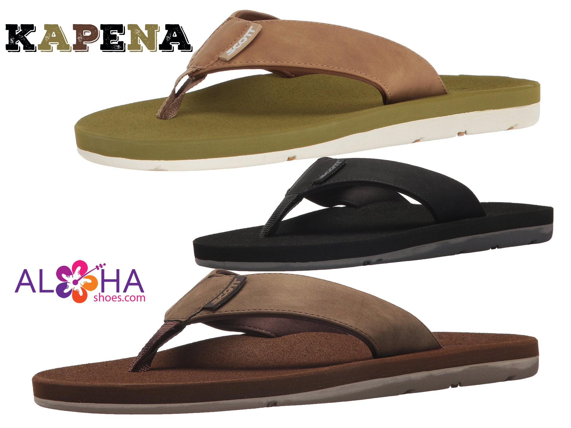 Scott Men's Kapena Sandals |  Double Layered Style - AlohaShoes.com