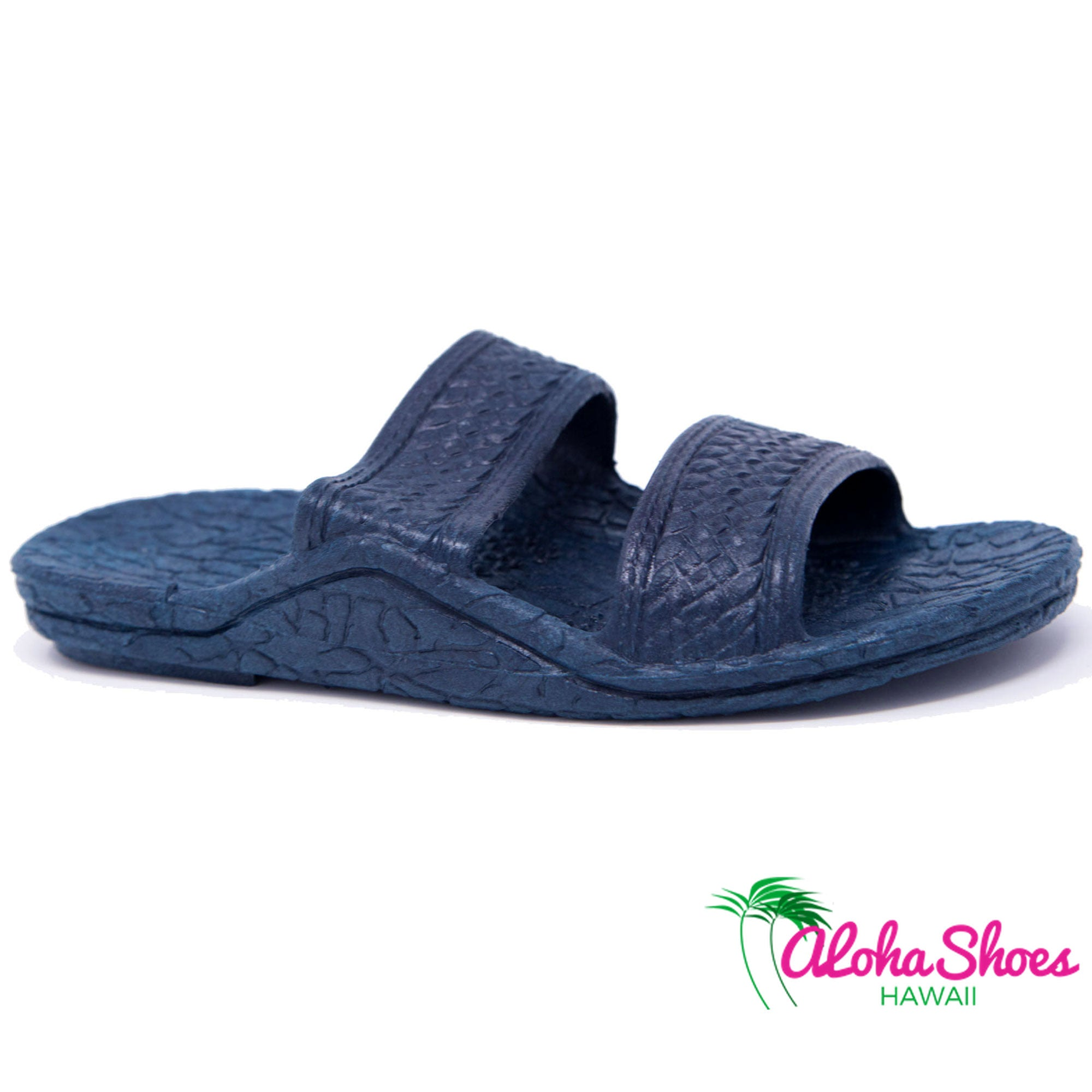 bbb0c68d3ddf Kids Jandals by Pali Hawaii Navy Hawaiian Design For Children -  AlohaShoes.com