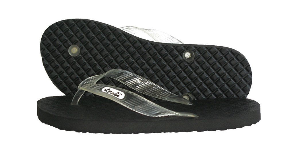 Men's Original Locals Black Rubber Slippers with Colored Translucent Straps - AlohaShoes.com