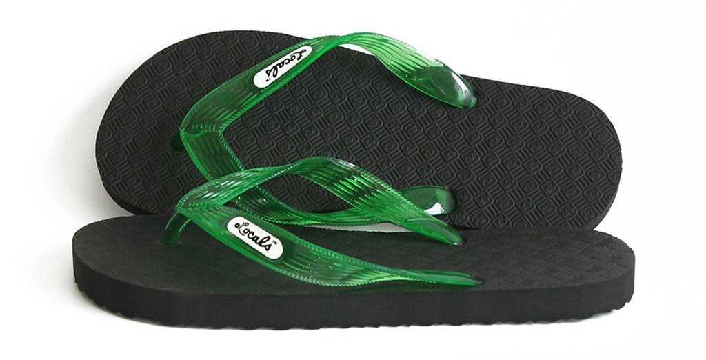 Women's Original Locals Black Rubber Slippers with Colored Translucent Straps - AlohaShoes.com