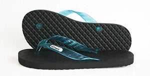 Women's Locals Flip Flops with Turquoise Straps- AlohaShoes.com