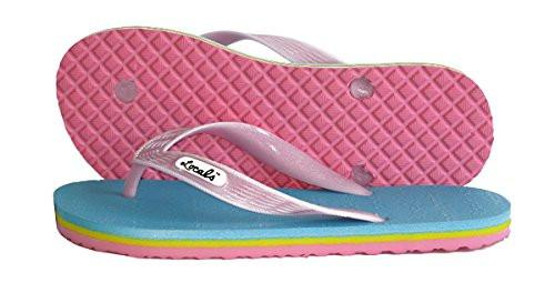 Womens Locals Flip Flops Neon Candy Stripes - AlohaShoes.com